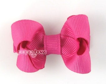 Small Hair Bow 2 Inch in Raspberry Rose - Toddler Hairbow Non Slip Alligator Clip - for Baby Girls