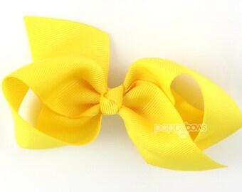 Girls Hair Bow - yellow hair bow - Loopy Bows - large hair bows - big hair bows - bows for girls - toddler clips hairbows - 3.5 inch bows