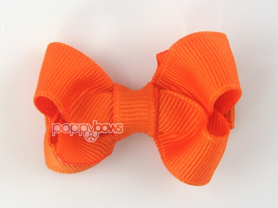 Small Baby Hair Bow 2 Inch in Orange - Toddler Hairbow Non Slip Alligator Clip - for Baby Girls Halloween Hair Bows