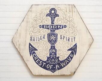 Anchor Wall Decor Sailor Art Navy Quote Coast Guard Motto, Born on a crest of a wave, sailor spirit, Coastal Wall Decor