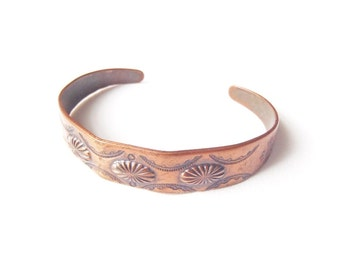 Vintage Small Copper Cuff Bracelet Signed Copper Bell Jewelry Southwestern Navajo Style Bell Trading Post Machine Die-Cut Stamped Repoussé