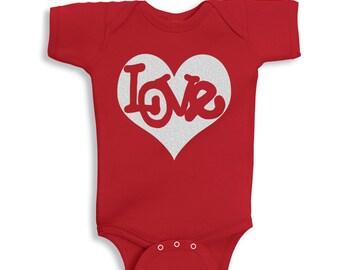 Love Inside Silver Glitter Heart Valentines Baby  bodysuit Red
