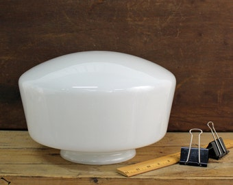 "Vintage milk glass 12"" schoolhouse shade for ceiling fixture - 6"" fitter - 6.5"" tall - retro light fixture glass"