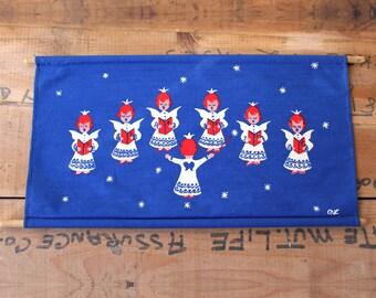 Vintage 1970s Nina Langebaek angel choir wall hanging - Danish Christmas decor - retro Scandinavian graphic print textile