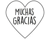 100 Muchas Gracias - mini Heart Seals / Stickers -You Pick Color (kraft, red, pastel pink, white)
