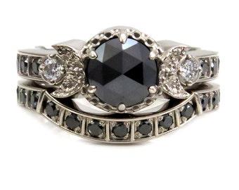 Modern Goth Engagement Ring Set - Black Rose Cut Diamond Moon Phase Stacking Wedding Rings White Gold