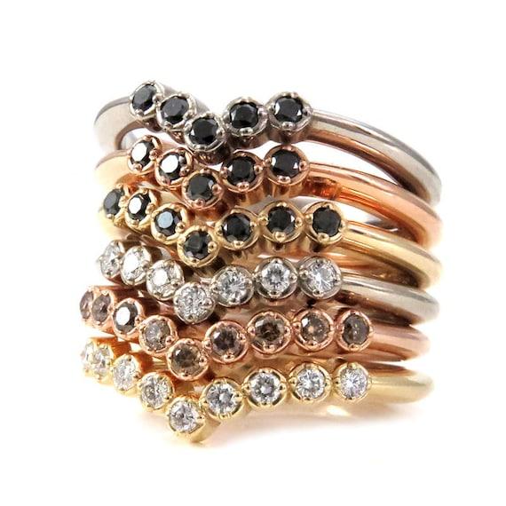 Diamond Stacking Chevron Ring - 5, 7 or 9 Diamond Nesting Crown Wedding Band