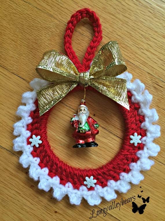 Hand crochet christmas ornament santa ornament wall hanging