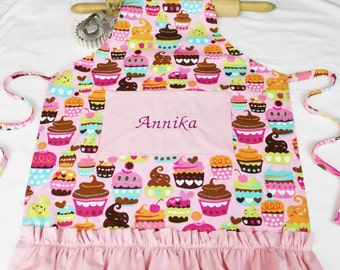 Personalized and Ruffled Pink Sweet Cupcakes Youth Apron with light pink pocket and ruffle - made to order