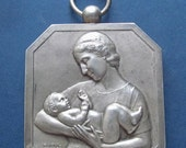 ON SALE Antique French Bronze Mother And Child Medal Pendant Art Deco Jewelry Signed Benard  SS233
