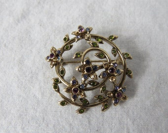 Beautiful and Colorful Vintage Monet Costume Jewelry Pin or Brooch