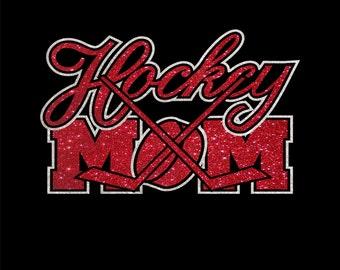 Women's Glitter Hockey Mom Shirt