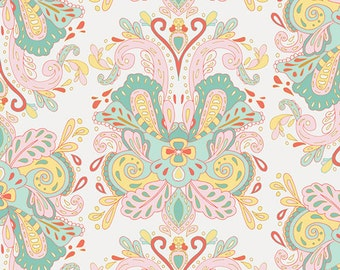 Anna Elise Poetic Saddle Belle by Bari J. for Art Gallery Fabrics ANE-87500 Filligree Peach Ornage Coral Mint Gold
