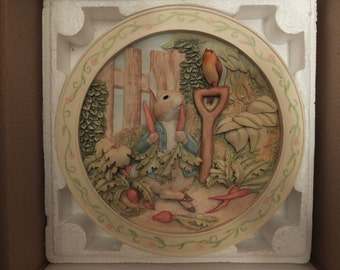 Beatix Potter The Tale Of Peter Rabbit Davenport Pottery 3-D Collector Plate MIB COA