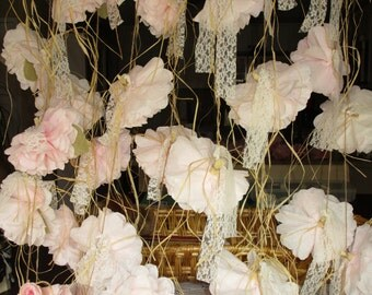 Paper flower garland, Rustic wedding decor, blush shabby chic party decoration, Flower garland, Paper flowers, Backdrop, Baby shower decor
