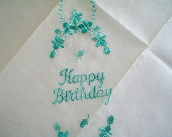 Unused Happy Birthday Hankie with Green Embroidery Vintage Swiss Cotton Handkerchief with Label