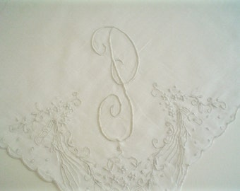 Hankie with Monogram P and Floral Hand Embroidery Madeira Linen Vintage Handkerchief