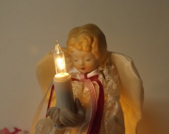 Sale Delightful  Christmas treetop angel with light, *with genuine porcelain head and hands *original box *new old stock *tested and work