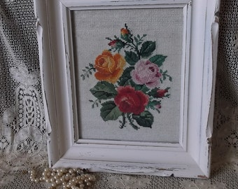 Vintage Needle point roses, Shabby cottage framed, white, Romantic home picture