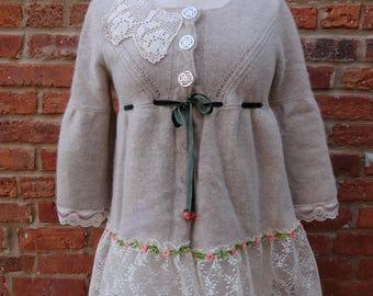 Boho Sweater,Shabby Chic Sweater,Romantic Sweater,Upcycled Sweater,Nine Muses Of Crete
