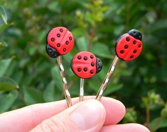 Ladybug hair pins girls bobby pins bug hairpins lady bug hair accessories