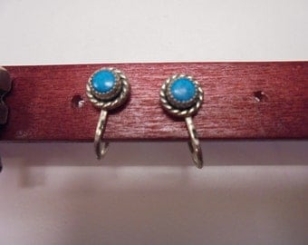 Vintage Sterling and Turquoise Screw-back Earrings