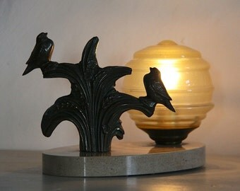 Beautiful French Art Deco Table Lamp Birds on an Oval Marble Base