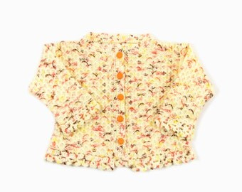 Knitted Baby Cardigan - Yellow and Orange, 18 - 24 months