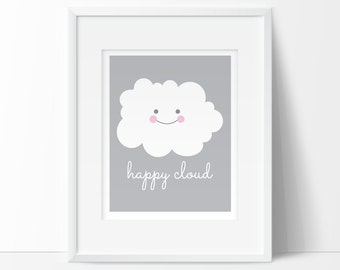cloud baby shower, cloud nursery decor, happy cloud, nursery art printables, printable nursery art, INSTANT DOWNLOAD, baby printable, DIYART