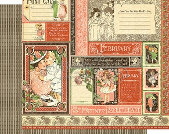"""Graphic 45's """"Children's Hour"""" Both February 12x12 Pages  ** See Discounted Shipping Note**"""