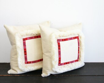 Modern Cream Fringe with Red Textural Throw Pillow