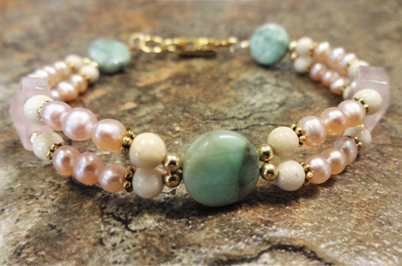 Rose Quartz, Chrysoprase, Riverstone and Pearl Bracelet, Pink Ivory and Aqua Jewelry, Stone and Pearl Bracelet, 2-strand bracelet