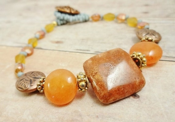 Fossil Coral, Red Aventurine, Glass and Copper Bracelet, Boho Jewelry, Beaded bracelet, Stone Bracelet, Orange and Blue Bracelet