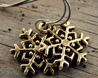 Titanium Snowflake Earrings Gold Plated Snowflake Charms on Hypoallergenic Titanium Ear Wires