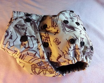 SassyCloth one size pocket diaper with adventure map PUL print. Made to order.