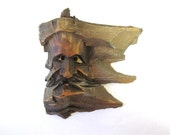Hand Carved Face Troll Old Man Wooden Statue Drift Wood Carving  Driftwood