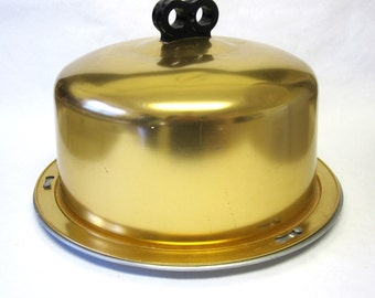 Aluminum Cake Plate Keeper Holder Saver Yellow Colored