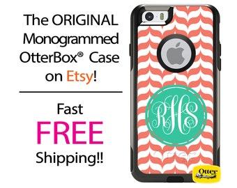 iPhone OtterBox Commuter Case for iPhone 7, 7 Plus, 6/6s, 6 Plus/6s Plus, 5/5s/SE, 5c Galaxy S7 S6 S5 Note 5 Monogram Marble Chevron Scallop