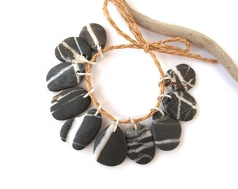 Beach Stone Beads River Stone Charms Rock Beads Diy Jewelry Drilled Mediterranean Natural Stone Beads Pairs STRIPED DARK CHARMS 17-21 mm