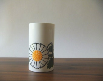 Lonborg Denmark Small Kitchen Canisters, No Lid, White Flower with Green Leaves, Plastic Melamine, Danish Modern