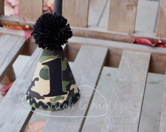 First Birthday HAT ONLY Camo Camouflage Army Black Green Tan 1st Birthday Outfit Toddler Baby Boy 1st Birthday