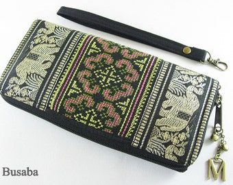 Personalized Monogramed Wallet, Elephant Embroidered Zippered Wallet, Colorful Hmong Tribal Long Wallet, Black Wallet