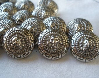 """Lion Buttons Antique pewter color 15 silver shank metallic plastic 24L 5/8"""" 15mm Versace scrapbook cabochon craft paper tag supply"""