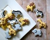 Animal Cookies - Zebra Lion Giraffe Elephant (2 Dozen)