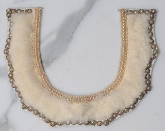 1950s collar/ 50s detachable fur  collar/ beaded