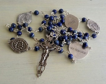 Blue rosary, Seven Decade Rosary, Blue Rosary Beads, Crucifix necklace