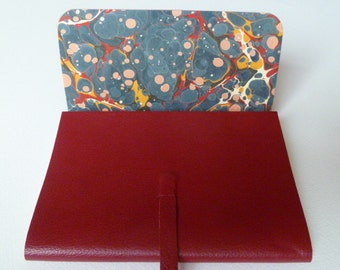 Leather Sketchbook Leather Journal Travel Journal Leather Book. Soft Red Grained Leather with a Traditional English hand made Marbled Paper