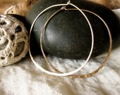 Earrings large hoop gold filled. Hand forged and hammered. Gift for her.