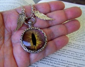 Dragon Eye Pendant (N632) Necklace, Hand Painted Copper Brown Sparkle and Gold Streaks Glass Eye, Silver Wings, Silver Chain with Clasp