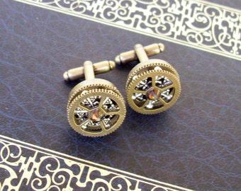 Brass Gear Cuff Link (CF504) - Brass Toggle Style - Bronze Swarovski Crystal